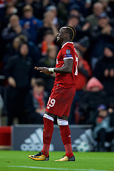 LIVERPOOL, ENGLAND - Wednesday, December 6, 2017: Liverpool's Sadio Mane celebrates scoring the fourth goal during the UEFA Champions League Group E match between Liverpool FC and FC Spartak Moscow at Anfield. (Pic by David Rawcliffe/Propaganda)