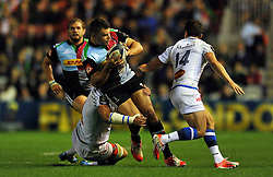 Nick Easter of Harlequins takes on the Castres defence - Photo mandatory by-line: Patrick Khachfe/JMP - Mobile: 07966 386802 17/10/2014 - SPORT - RUGBY UNION - London - Twickenham Stoop - Harlequins v Castres Olympique - European Rugby Champions Cup