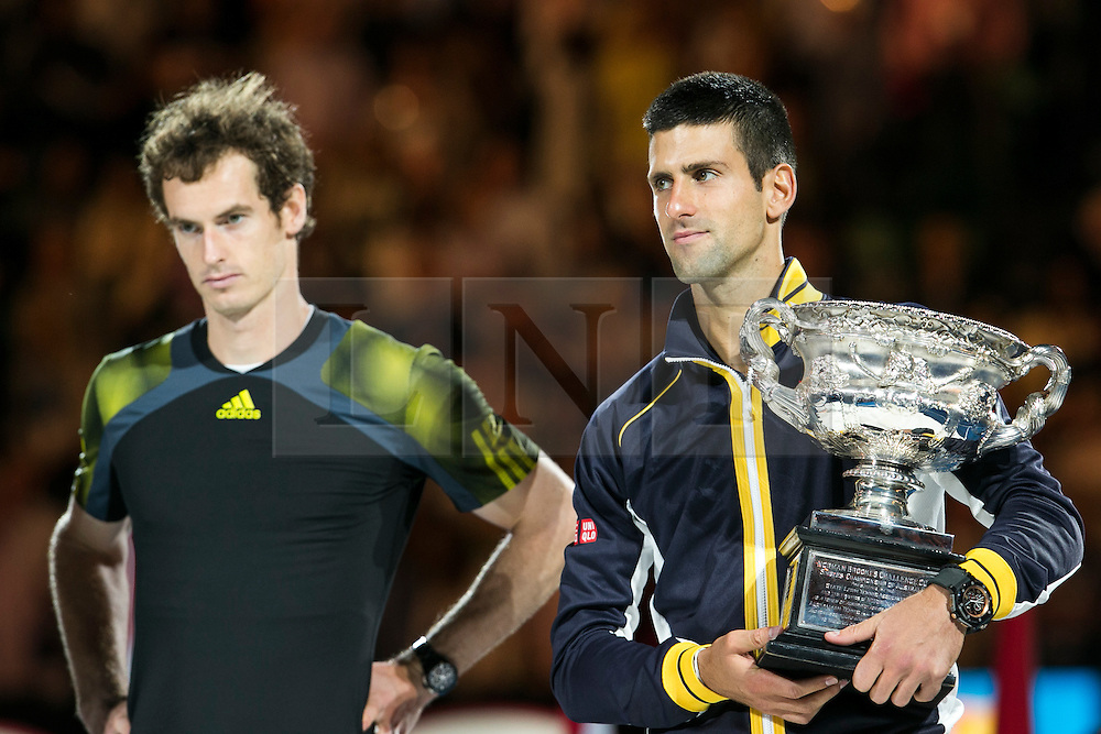© Licensed to London News Pictures. 27/01/2013. Melbourne Park, Australia. Andy Murray and Novak Djokovic during the trophy presentation during the Mens Final between Novak Djokovic and Andy Murray of the Australian Open. Photo credit : Asanka Brendon Ratnayake/LNP