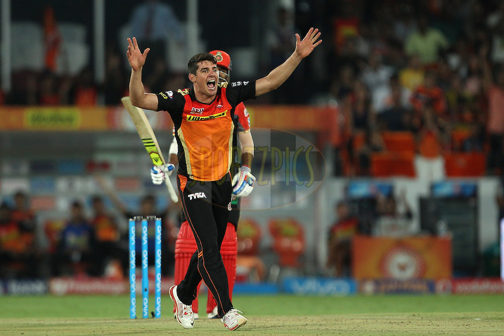 Moises Henriques of Sunrisers Hyderabad appeals successfully for the wicket of KL Rahul of Royal Challengers Bangalore during match 27 of the Vivo IPL 2016 (Indian Premier League ) between the Sunrisers Hyderabad and the Royal Challengers Bangalore held at the Rajiv Gandhi Intl. Cricket Stadium, Hyderabad on the 30th April 2016<br /> <br /> Photo by Ron Gaunt / IPL/ SPORTZPICS