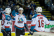 KELOWNA, CANADA - MARCH 10:  Calvin Thurkauf #27 of the Kelowna Rockets, Dillon Dube #19 of the Kelowna Rockets, Kole Lind #16 of the Kelowna Rockets at the Kelowna Rockets game on March 10, 2017 at Prospera Place in Kelowna, British Columbia, Canada.  (Photo By Cindy Rogers/Nyasa Photography,  *** Local Caption ***