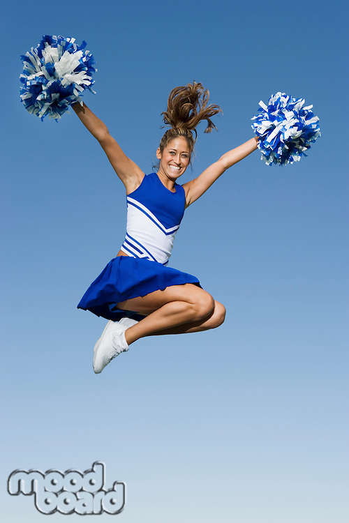 Cheerleader Jumping in Mid-Air