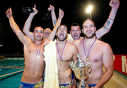 VK Rokava Koper celebrate with a trophy after the water polo match between ASD Vaterpolo Rokava Koper and AVK Triglav Kranj in 3rd Round of Final of Slovenian Water polo National Championship, on June 8, 2011 in Zusterna pool, Koper, Slovenia. Rokava Koper defeated Triglav Kranj 12-6 and became Slovenian Champion 2011. (Photo By Vid Ponikvar / Sportida.com)