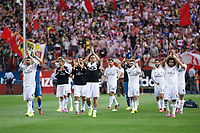 Real Madrid´s players greet their supporters after losing the 2014 Supercopa de España `Spain Supercup´ against Atletico de Madrid at Vicente Calderon stadium. August 22, 2014. (ALTERPHOTOS/Victor Blanco)