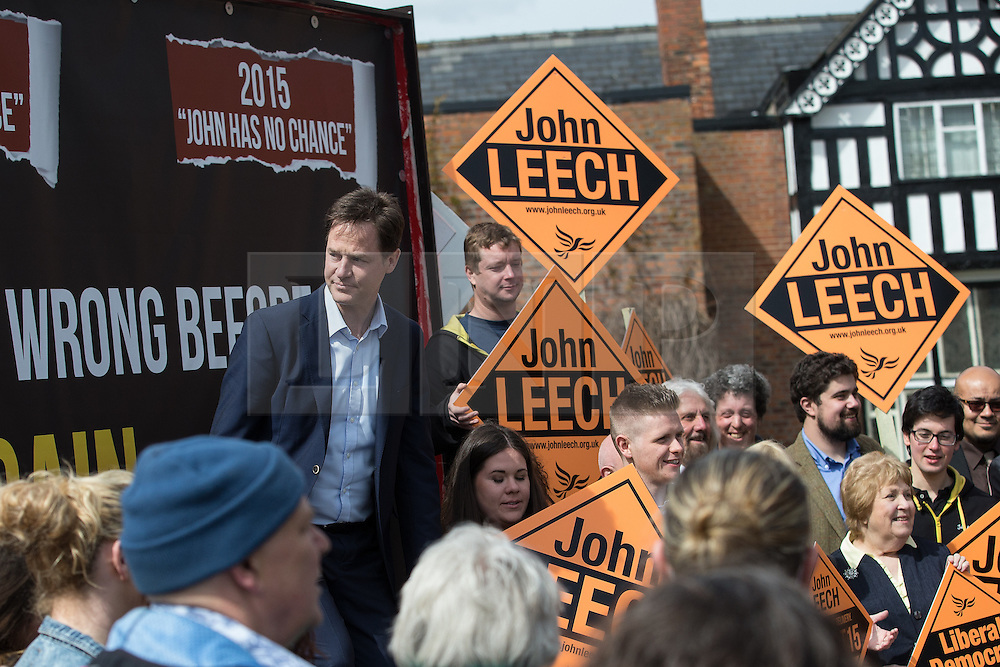 © Licensed to London News Pictures . 01/05/2015 . Manchester , UK . Nick Clegg (r) and John Leech (l) pose for pictures after a Liberal Democrat party rally at Chorlton-cum-Hardy Golf Club . Liberal Democrat party leader Nick Clegg visits the constituency of Manchester Withington to deliver a speech on the NHS and campaign with local candidate John Leech . Photo credit : Joel Goodman/LNP