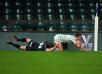 Rugby Union - 2019 (138th Men's) Varsity Match - Oxford University vs. Cambridge University<br /> <br /> Fergus Jemphrey of Cambridge dives over for his first half try, at Twickenham.<br /> <br /> COLORSPORT/ANDREW COWIE