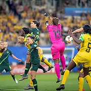 GRENOBLE, FRANCE June 18.  Sam Kerr #20 of Australia and Chloe Logarzo #6 of Australia an Alanna Kennedy #14 of Australia challenge for the ball with Khadija Shaw #11 of Jamaica and Nicole McClure #13 of Jamaica and Konya Plummer #5 of Jamaica during the Jamaica V Australia, Group C match at the FIFA Women's World Cup at Stade des Alpes on June 18th 2019 in Grenoble, France. (Photo by Tim Clayton/Corbis via Getty Images)