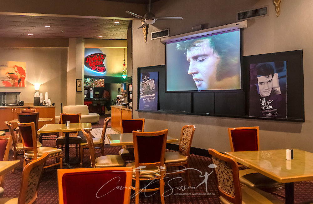 A television plays an endless loop of Elvis Presley's movies and concerts at the Heartbreak Hotel on Elvis Presley Boulevard in Memphis, Tennessee, Sept. 4, 2015. Elvis Presley Enterpises purchased the hotel in 1999. A new $75 million hotel is expected to open in 2015, and the old hotel, located near Graceland, is slated for demolition. The hotel is named for the famous Presley song, which was released in 1956 and earned him his first gold record. (Photo by Carmen K. Sisson/Cloudybright)