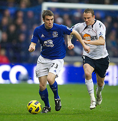 BOLTON, ENGLAND - Sunday, February 13, 2011: Everton's Seamus Coleman and Bolton Wanderers' Matthew Taylor during the Premiership match at the Reebok Stadium. (Photo by David Rawcliffe/Propaganda)