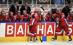 Team Russia (standing Sergei Zinoviev (42) of Russia and Dmitri Kalinin (7) of Russia) and Head coach of Russia Vyacheslav Bykov at  ice-hockey game Canada vs Russia at finals of IIHF WC 2008 in Quebec City,  on May 18, 2008, in Colisee Pepsi, Quebec City, Quebec, Canada. Win of Russia 5:4 and Russians are now World Champions 2008. (Photo by Vid Ponikvar / Sportal Images)
