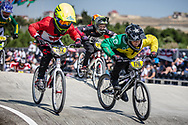 11 Boys #182 (SOWPAL Luke) CAN and 11 Boys #176 (WOODBURY Callum) AUS at the 2018 UCI BMX World Championships in Baku, Azerbaijan.