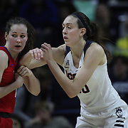 Breanna Stewart, UConn, defends against Alicia Froling, SMU, during the UConn Vs SMU Women's College Basketball game at Gampel Pavilion, Storrs, Conn. 24th February 2016. Photo Tim Clayton