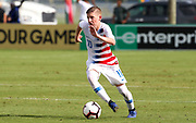 Team USA midfielder Evan Rotundo (10 moves the ball up the pitch in a game against Portugal during a CONCACAF boys under-15 championship soccer game, Saturday, August 10, 2019, in Bradenton, Fla. Portugal defeated Team USA 3-0 and advanced to the finals against Slovenia. (Kim Hukari/Image of Sport)