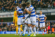GOAL PENALTY 2-0 Queens Park Rangers midfielder Eberechi Eze (10) scores from the penalty spot and celebrates during the EFL Sky Bet Championship match between Queens Park Rangers and Preston North End at the Kiyan Prince Foundation Stadium, London, England on 7 December 2019.
