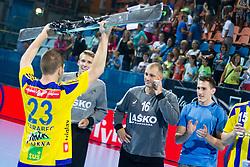 Miha Zarabec #23 of RK Celje Pivovarna Lasko after handball match between RK Celje Pivovarna Lasko vs RK Gorenje Velenje of Super Cup 2015, on August 29, 2015 in SRC Marina, Portoroz / Portorose, Slovenia. Photo by Urban Urbanc / Sportida
