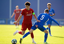 GENK, BELGIUM - Wednesday, October 23, 2019: Liverpool's captain Curtis Jones (L) and KRC Genk's Siebe Vandermeulen during the UEFA Youth League Group E match between KRC Genk Under-19's and Liverpool FC Under-19's at the KRC Genk Arena Stadium B. (Pic by David Rawcliffe/Propaganda)