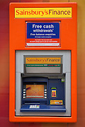 A Sainsburys bank cash machine, outside a supermarket. Chancery Lane, London.