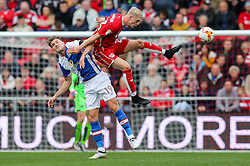 Sam Gallagher of Blackburn Rovers and Hordur Magnusson of Bristol City compete in the air - Rogan Thomson/JMP - 22/10/2016 - FOOTBALL - Ashton Gate Stadium - Bristol, England - Bristol City v Blackburn Rovers - Sky Bet EFL Championship.