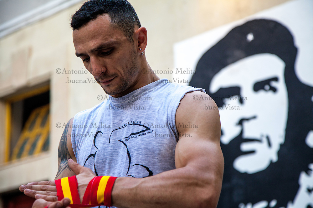 The professional Italian boxer, Giancarlo Bentivegna, strained every sinew at a training session at the Antifa Fight Club in Palermo, Italy.