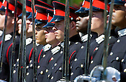 Officer cadets at the Passing Out Parade at Sandhurst Royal Military Academy, Surrey.