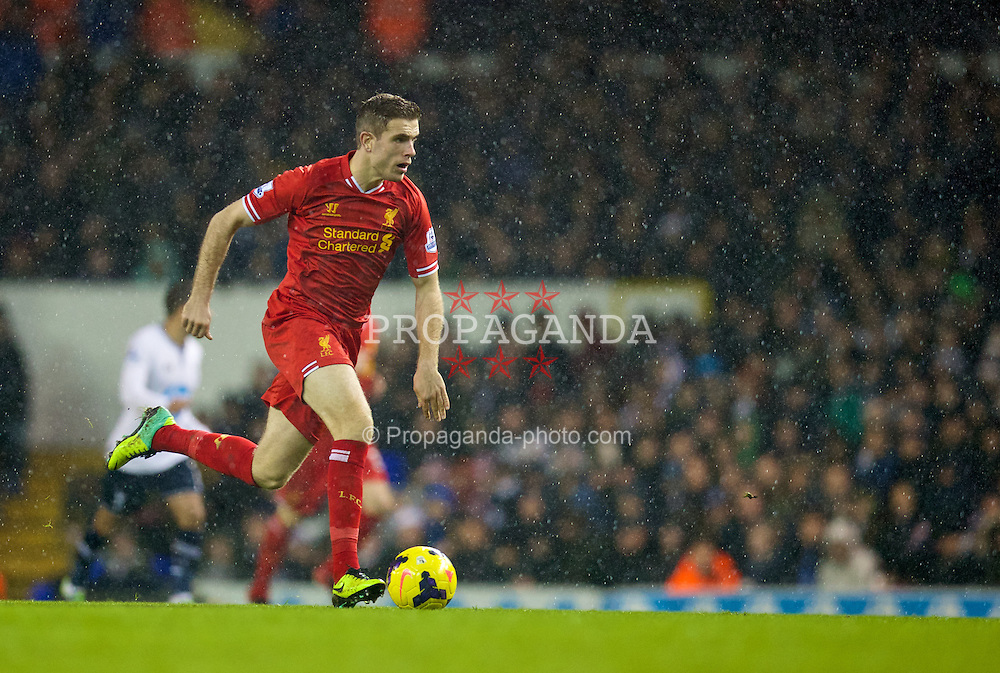 LONDON, ENGLAND - Sunday, December 15, 2013: Liverpool's Jordan Henderson in action against Tottenham Hotspur during the Premiership match at White Hart Lane. (Pic by David Rawcliffe/Propaganda)