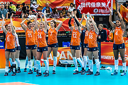15-10-2018 JPN: World Championship Volleyball Women day 16, Nagoya<br /> Netherlands - USA 3-2 / Maret Balkestein-Grothues #6 of Netherlands, Anne Buijs #11 of Netherlands, Laura Dijkema #14 of Netherlands, Juliet Lohuis #7 of Netherlands, Britt Bongaerts #12 of Netherlands, Tessa Polder #20 of Netherlands, Marrit Jasper #18 of Netherlands, Celeste Plak #4 of Netherlands