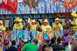 15 Feb 2015. New Orleans, Louisiana.<br /> Mardi Gras. Riders toss trinkets and throws as The Krewe of Thoth rolls Uptown..<br /> Photo; Charlie Varley/varleypix.com