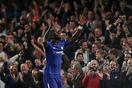 Antonio Rudiger of Chelsea celebrates after he scores his teams 1st goal. <br /> EFL Carabao Cup 4th round match, Chelsea v Everton at Stamford Bridge in London on Wednesday 25th October 2017.<br /> pic by Kieran Clarke, Andrew Orchard sports photography.