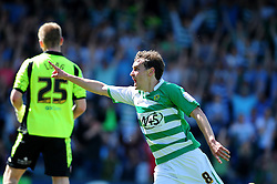 Yeovil Town's Edward Upson celebrates his goal for Yeovil - Photo mandatory by-line: Dougie Allward/JMP - Tel: Mobile: 07966 386802 06/05/2013 - SPORT - FOOTBALL - Huish Park - Yeovil - Yeovil Town V Sheffield United - NPOWER LEAGUE ONE PLAY-OFF SEMI-FINAL SECOND LEG