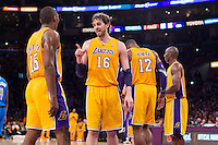 30 October 2012: Forward (16) Pau Gasol of the Los Angeles Lakers speaks to teammate Meta World Peace while playing against the Dallas Mavericks during the second half of the Mavericks 99-91 victory over the Lakers at the STAPLES Center in Los Angeles, CA.