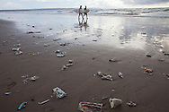 plastic garbage at the shore of Bali.