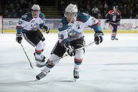 KELOWNA, CANADA, FEBRUARY 11: Myles Bell #29 of the Kelowna Rockets skates on the ice as the Kamloops Blazers visit the Kelowna Rockets on February 11, 2012 at Prospera Place in Kelowna, British Columbia, Canada (Photo by Marissa Baecker/Shoot the Breeze) *** Local Caption ***