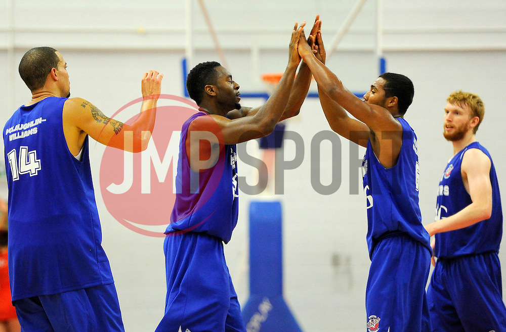 Flyers players celebrate on the final whistle  - Photo mandatory by-line: Joe Meredith/JMP - Mobile: 07966 386802 - 27/09/2014 - SPORT - Basketball - Bristol - SGS Wise Campus - Bristol Academy Flyers v Plymouth Uni Raiders - British Basketball League