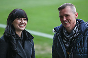 Daisy Lowe and Forest Green Rovers Chairman Dale Vince during the EFL Sky Bet League 2 match between Forest Green Rovers and Plymouth Argyle at the New Lawn, Forest Green, United Kingdom on 16 November 2019.