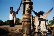 Faith Nemadira (26) søster Yolanda (14), boys and girls collects water from water pump at a dryer river.