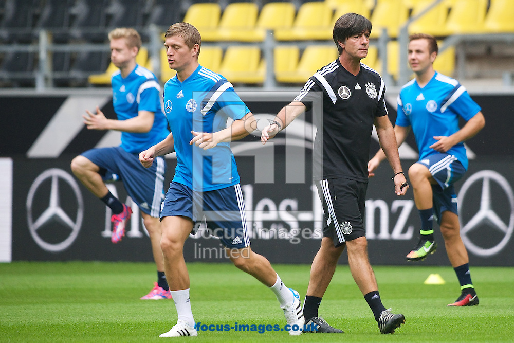Germany manager Joachim L&ouml;w (2nd right) supervises training pictured during Germany training at Signal Iduna Park, Dortmund<br /> Picture by Ian Wadkins/Focus Images Ltd +44 7877 568959<br /> 06/09/2014