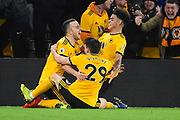 Wolverhampton Wanderers forward Diogo Jota (18) scores a goal 2-1 and celebrates during the Premier League match between Wolverhampton Wanderers and Chelsea at Molineux, Wolverhampton, England on 5 December 2018.