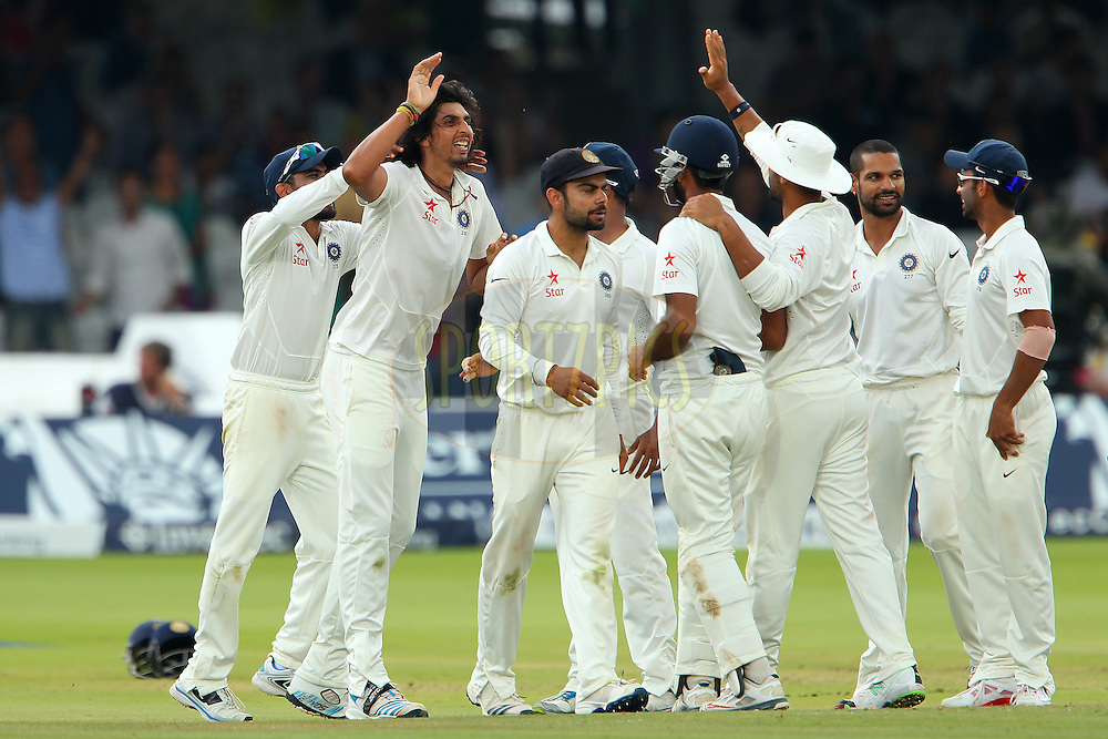 Ishant Sharma of India celebrates the wicket of Moeen Ali of England during day five of the 2nd Investec test match between England and India held at Lords cricket ground in London, England on the 21st July 2014<br /> <br /> Photo by Ron Gaunt / SPORTZPICS/ BCCI