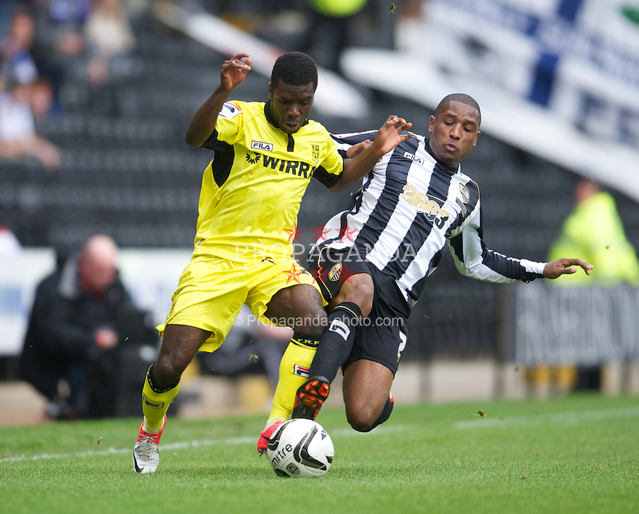 NOTTINGHAM, ENGLAND - Saturday, October 6, 2012: Tranmere Rovers' Abdulai Bell-Baggie in action against Notts County's Andre Boucaud during the Football League One match at Meadow Lane. (Pic by David Rawcliffe/Propaganda)