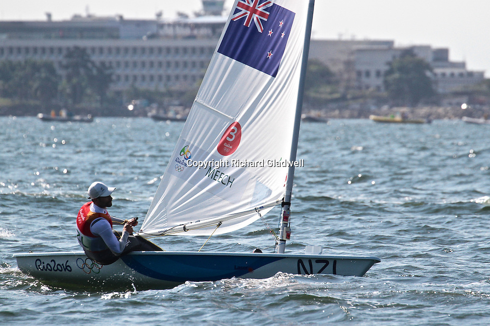 Sam Meech (NZL)  nears the end of the final upwind leg in the Mens Laser  - 2016 Olympic sailing Regatta.<br /> 16 August 2016.<br /> Copyright photo: Richard Gladwell / www.photosport.nz
