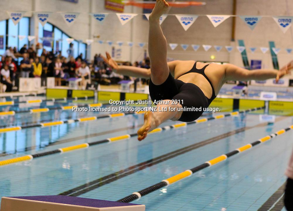 Natalie Wiegersma dives off the starting block.2011 New Zealand Short Course Championships, Day 4, Wellington Aquatics Centre, Kilbirnie, Wellington, Tuesday 9 August 2011. Photo: Justin Arthur / photosport.co.nz