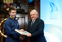 REPRO FREE***PRESS RELEASE NO REPRODUCTION FEE***<br /> Irish Sailing Awards, Royal College of Surgeons, Stephen's Green, Dublin 4/2/2016<br /> National Yacht Club sailor Liam Shanahan was named the 2015 Irish Sailor of the Year today at the Irish Sailing Awards in Dublin - Shanahan had a remarkable year, including victory in the Dun Laoghaire to Dingle race in June on his boat Ruth with two miles to spare.<br /> Kilkenny's Doug Elmes and Malahide's Colin O'Sullivan jointly took home the Irish Sailing Association (ISA) Youth Sailor of the Year award. The Howth Yacht Club sailors were hotly tipped following their recent Bronze medal success at the 2015 Youth World Championships in Malaysia, where they took Ireland's first doublehanded youth worlds medal in 19 years.<br /> The Mitsubishi Motors Sailing Club of the Year award was presented to the Royal Irish Yacht Club in honour of their success at local, national and international level.<br /> Mullingar Sailing Club took home the ISA Training Centre of the Year award, having been nominated as winners of the western-region Training Centre of the Year.<br /> Pictured is Douglas Elmes, Youth Sailor of the Year nominee, Howth Yacht Club, and David Lovegrove, President ISA<br /> Mandatory Credit ©INPHO/Cathal Noonan