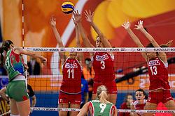 01-10-2017 AZE: CEV European Volleyball Azerbeidzjan - Turkije, Baku<br /> Turkije pakt de bronze medaille door het thuisland met 3-1 te verslaan / Naz Aydemir Akyol #11 of Turkey, Kubra Akman Caliskan # 3 of Turkey, Neriman Ozsoy #13 of Turkey