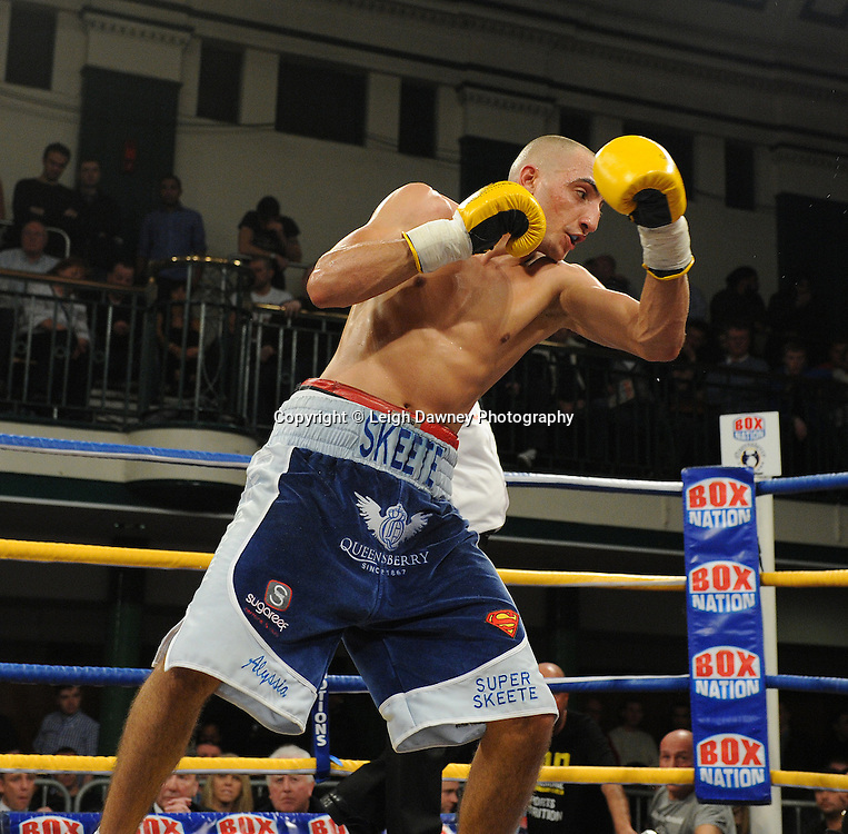 Bradley Skeete (blue shorts) defeats Michael Frontin in a 8x3 min Welterweight contest at York Hall, Bethnal Green, London on Friday 13th January 2012. Queensbury Promotions © Leigh Dawney 2012