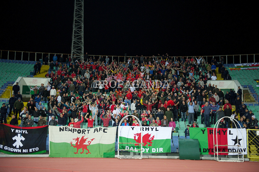 SOFIA, BULGARIA - Tuesday, October 11, 2011: Wales supporters during the UEFA Euro 2012 Qualifying Group G match against Bulgaria at the Vasil Levski National Stadium. (Pic by David Rawcliffe/Propaganda)