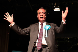 © Licensed to London News Pictures. 19/05/2019. Frimley, UK. Brexit Party leader Nigel Farage addressed supporters as The Brexit Party hold a rally in Frimley, Surrey. Photo credit: Rob Pinney/LNP