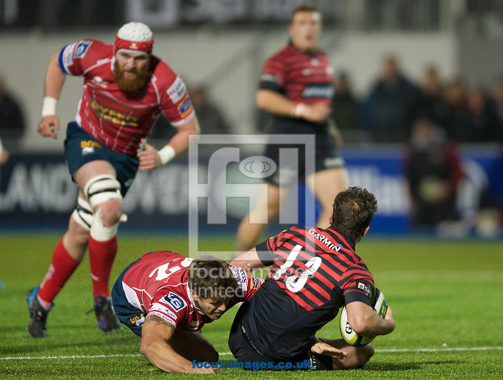 Picture by Alan Stanford/Focus Images Ltd +44 7915 056117<br /> 17/11/2013<br /> x of Saracens and y of Scarlets during the LV Cup match at Allianz Park, London.
