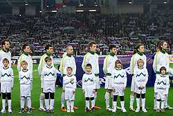 Players of Slovenia during EURO 2012 Quaifications game between National teams of Slovenia and Italy, on March 25, 2011, SRC Stozice, Ljubljana, Slovenia. Italy defeated Slovenia 1-0.  (Photo by Vid Ponikvar / Sportida)
