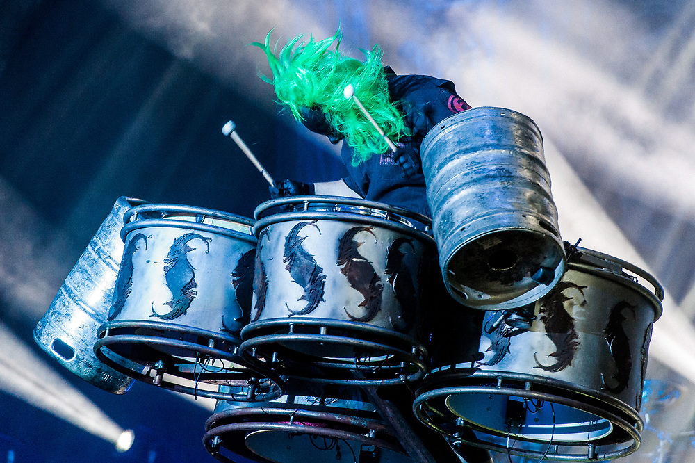 Heavy metal band Slipknot take to the stage as headliners at the 2015 Copenhell Music Festival in Copenhagen