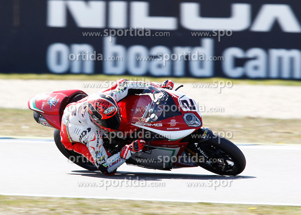 18.04.2015, Assen Circuit, Assen, NED, FIM, Superbike WM, Assen, Qualifying, im Bild 2 Leon Camier / Groflbritannien / MV Agusta Reparto Corse // during the Qualifying for the FIM Superbike Dutch Grand Prix at the Assen Circuit in Assen, Netherlands on 2015/04/18. EXPA Pictures &copy; 2015, PhotoCredit: EXPA/ Eibner-Pressefoto/ Stiefel<br /> <br /> *****ATTENTION - OUT of GER*****